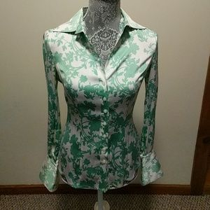 Bebe Silk Blouse in Mint Floral